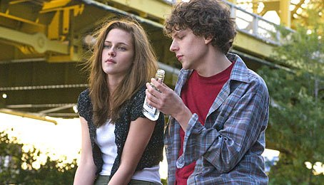 Kristen Stewart sits quietly with Jesse Eisenberg.