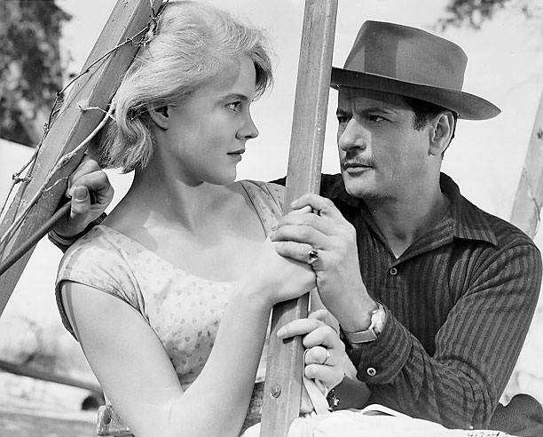 Seductive Carroll Baker exchanges looks with amorous Eli Wallach.