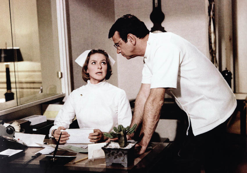 Stephanie (Ingrid Bergman) with ever-present cactus is interrupted from her desk work by Dr. Winston (Walter Matthau).