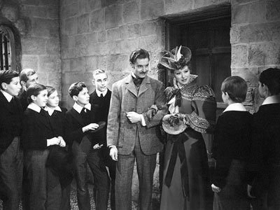 Mr. Chipping (Robert Donat) and his bride (Greer Garson) are greeted warmly by the boys at Brookfield Public School.