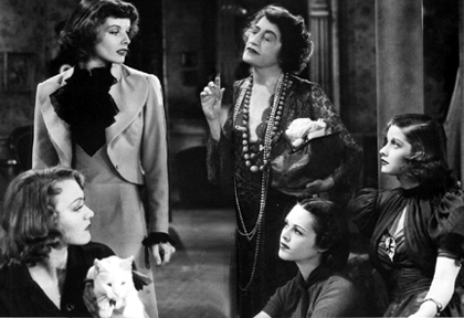 Eve (Eve Arden), Terry (Katharine Hepburn), Miss Luther (Constance Collier), Kay (Andrea Leeds), and Judy (Lucille Ball) get acquainted.