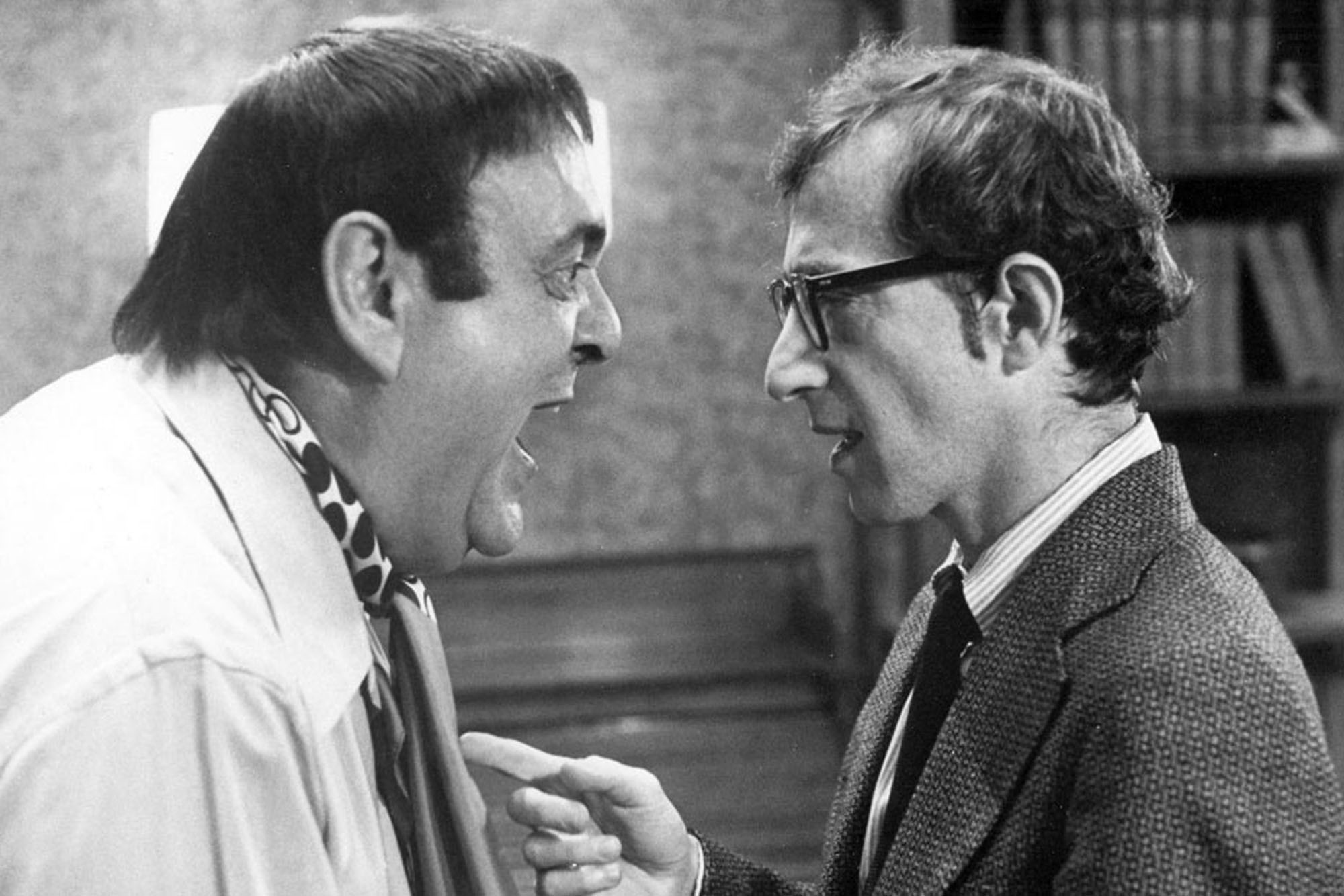 Zero Mostel gives Woody Allen a piece of his mind.