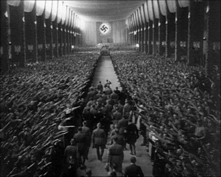 Hitler and his entourage make their entrance at the 1934 Nazi Party Congress in Nuremberg.